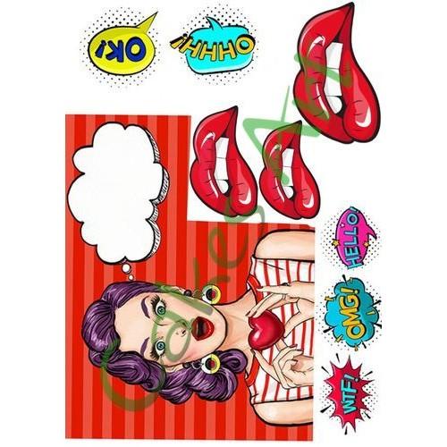 Вафельная сахарная картинка на торт Поп арт Девушка 006