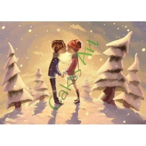Вафельная сахарная картинка на торт Пара Поцелуй 001
