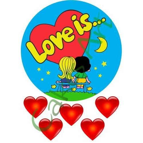 Вафельная сахарная картинка на торт Love is лав из 004
