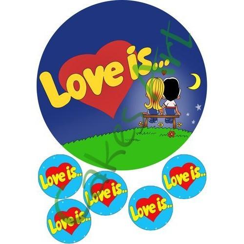 Вафельная сахарная картинка на торт Love is лав из 006