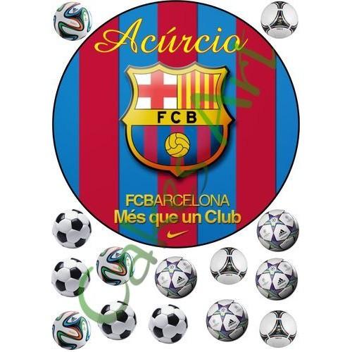 Вафельная сахарная картинка на торт Футбол ФК Барселона 002