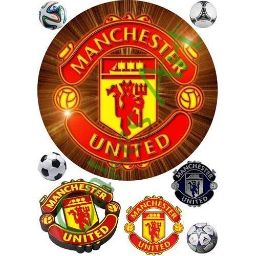Вафельная сахарная картинка на торт Футбол ФК Манчестер Юнайтед 003