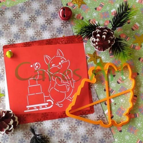 Набор для пряников вырубка + трафарет: Лисичка с подарками 001