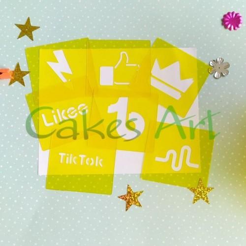 Трафарет для торта и пряников: Лайки Тик ток  Like Tik Tok