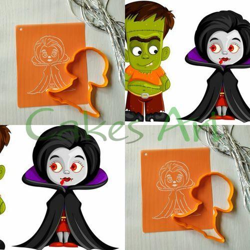 Набор для пряников вырубка + трафарет: Девочка вампир 001
