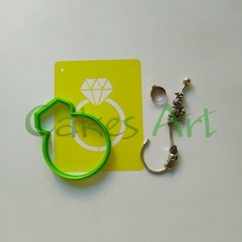 Набор для пряников вырубка + трафарет: Кольцо с бриллиантом