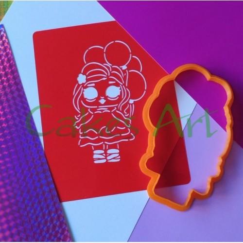 Набор для пряников вырубка + трафарет:  Кукла лол с шариками 012