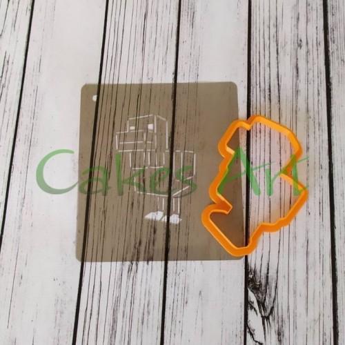 Набор для пряников вырубка + трафарет: Майнкрафт курица