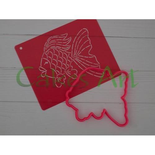 Набор для пряников вырубка + трафарет: Золотая рыбка