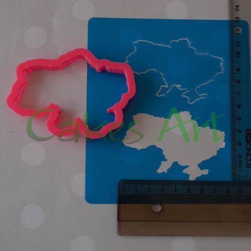 Набор для пряников вырубка + трафарет: Карта Украины