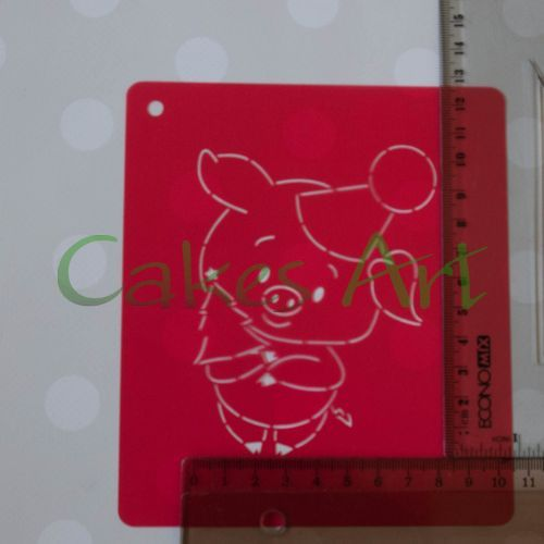 Набор для пряников вырубка + трафарет: Свинка с елочкой