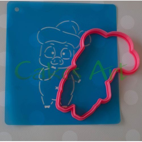 Набор для пряников вырубка + трафарет: Свинка в новогодней шапке
