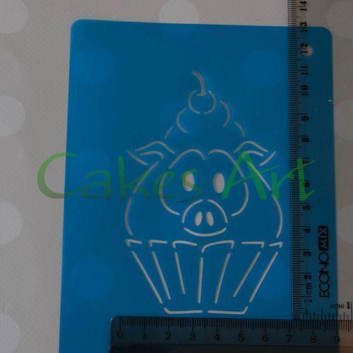 Набор для пряников вырубка + трафарет: Свинка -Кекс
