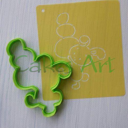 Набор для пряников вырубка + трафарет: Заяц с крашенками 001