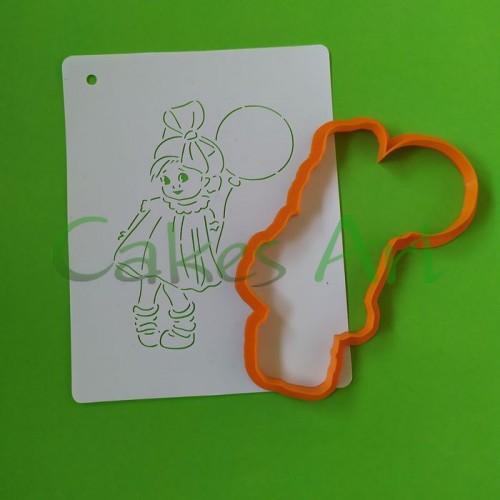Набор для пряников вырубка + трафарет: Девочка с шаром 003