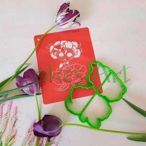 Набор для пряников вырубка + трафарет: Девочка 015 на цветке