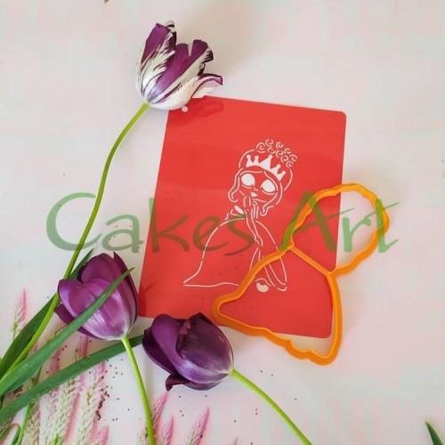 Набор для пряников вырубка + трафарет: Девочка 011 в короне