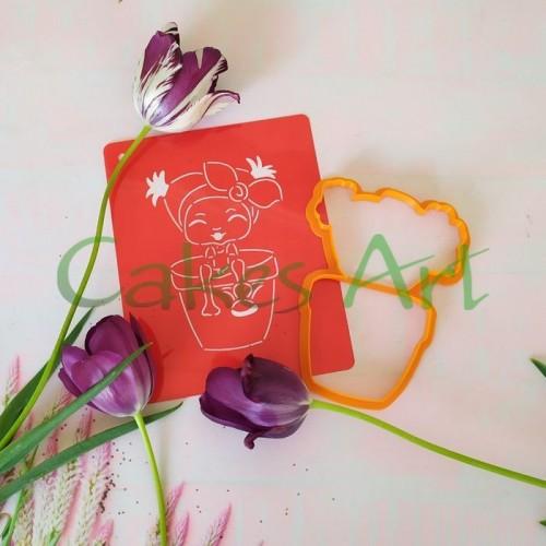 Набор для пряников вырубка + трафарет: Девочка 001 в цветочном горшке