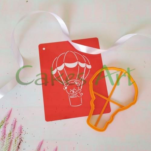 Набор для пряников вырубка + трафарет: Воздушный шар с мишкой 001