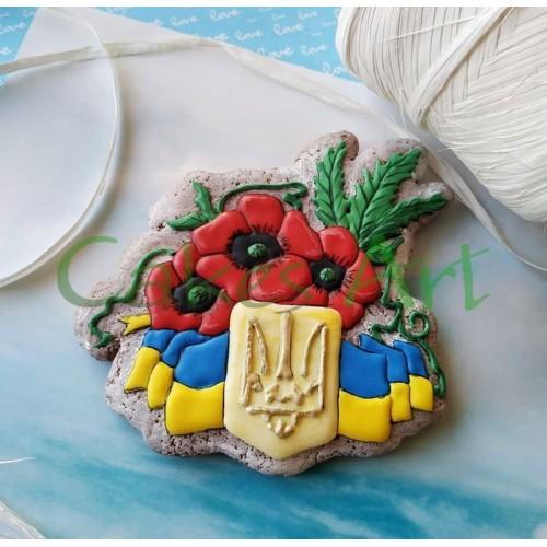 Набор для пряников вырубка + трафарет: Герб Украины с маками