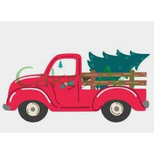Набор для пряников вырубка + трафарет: Новогодний грузовик 001