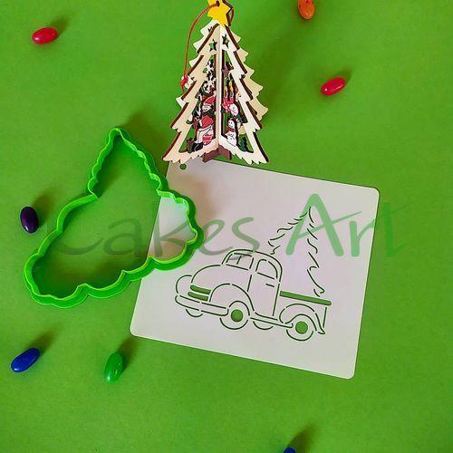 Набор для пряников вырубка + трафарет: Новогодний грузовик 002