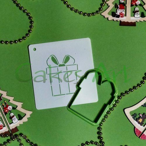Набор для пряников вырубка + трафарет: Подарок 002