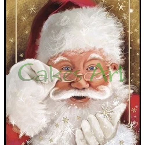 Набор для пряников вырубка + трафарет: Санта Клаус открытка 002