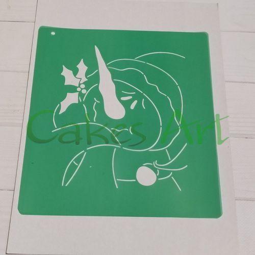 Трафарет для торта и пряников:  Снеговик открытка 002