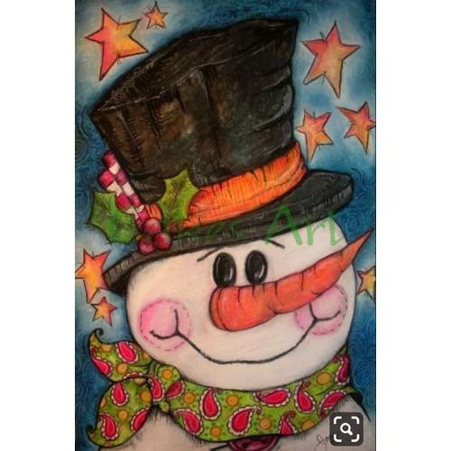Трафарет для торта и пряников:  Снеговик открытка 003