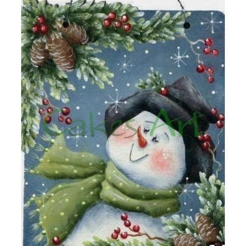 Трафарет для торта и пряников:  Снеговик открытка 004