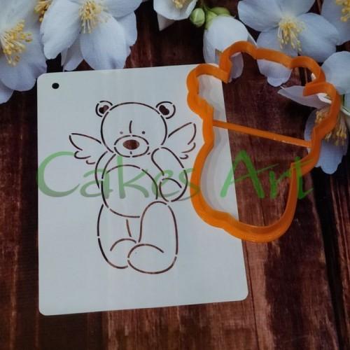 Набор для пряников вырубка + трафарет: Мишки ангел 003