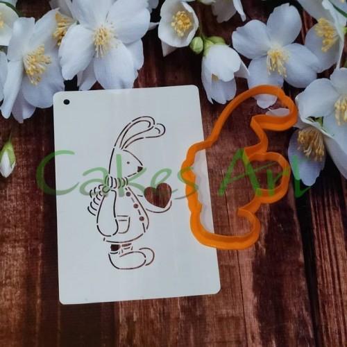 Набор для пряников вырубка + трафарет: Зайчик с сердцем 003