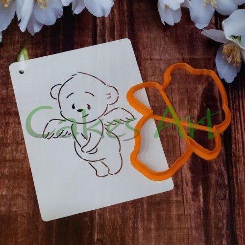 Набор для пряников вырубка + трафарет: Мишка ангел 002