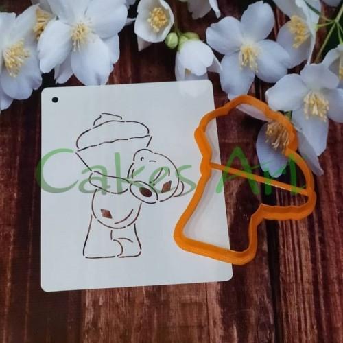 Набор для пряников вырубка + трафарет: Мишка Тедди с кексом