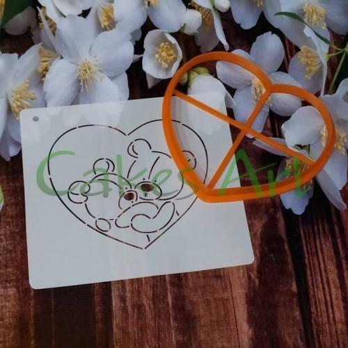 Набор для пряников вырубка + трафарет: Мишки в сердце 001