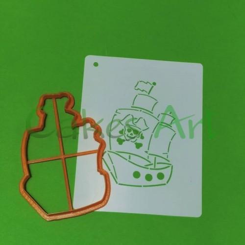 Набор для пряников вырубка + трафарет: Пиратский корабль 001