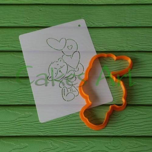 Набор для пряников вырубка + трафарет: Мишка Лове 003