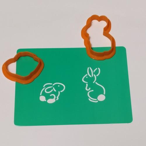 Набор для пряников вырубка + трафарет: Шопка Два зайца