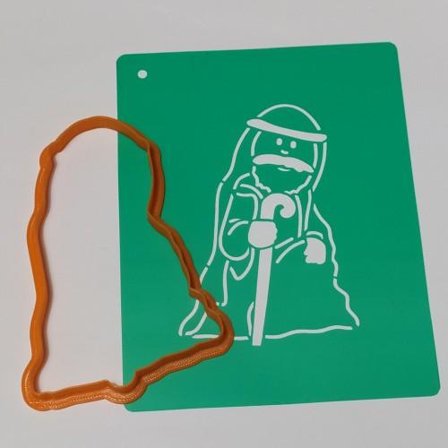 Набор для пряников вырубка + трафарет: Шопка Святой Иосиф
