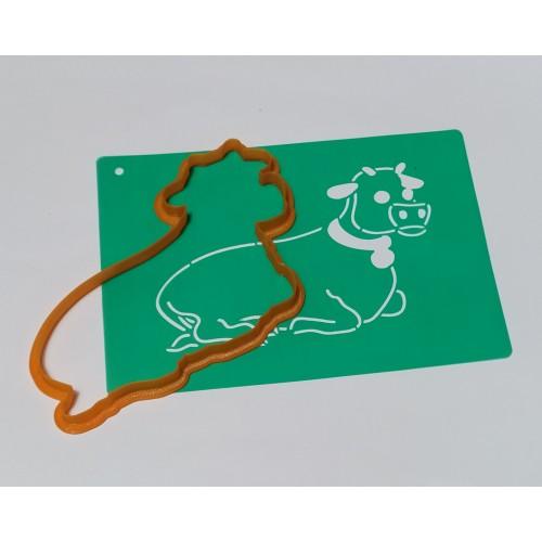 Набор для пряников вырубка + трафарет: Шопка корова